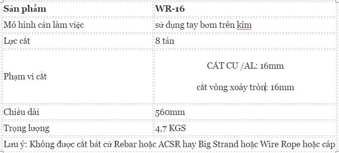 Kìm cắt cáp thủy lực OPT WR-16